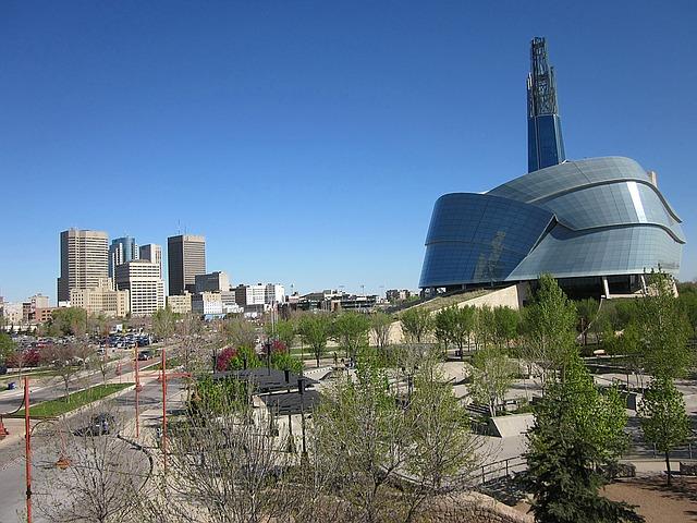 Winnipeg, Manitoba - skyline with Museum of Human Rights