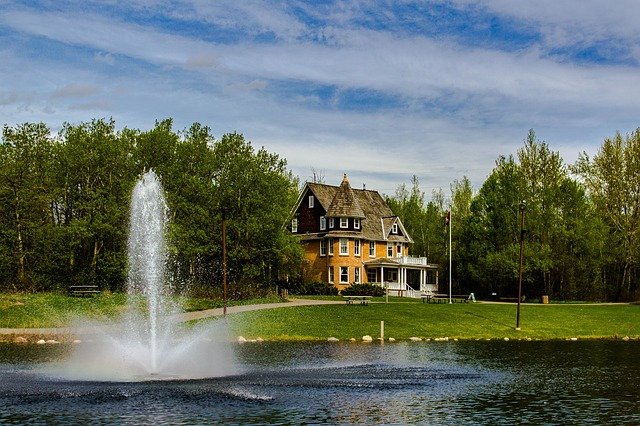 Red-Deer- historic home and pond