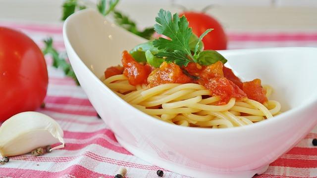 spaghetti dish in restaurant