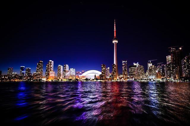 Toronto waterfront skyline at night